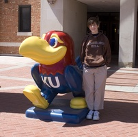 308-0849 Thomas with the Jayhawk in front of the Student Union