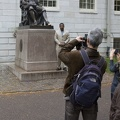 315-0609 Posing with Statue of John Harvard.jpg