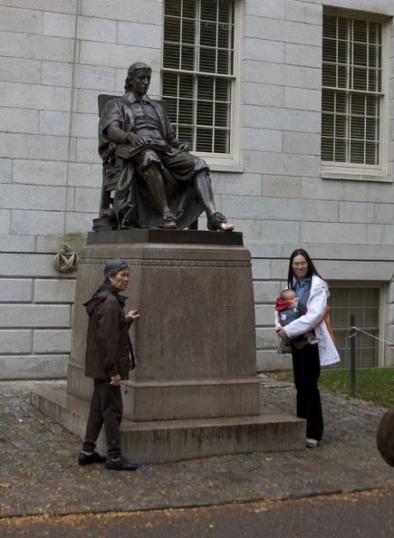 315-0610 Posing with Statue of John Harvard.jpg