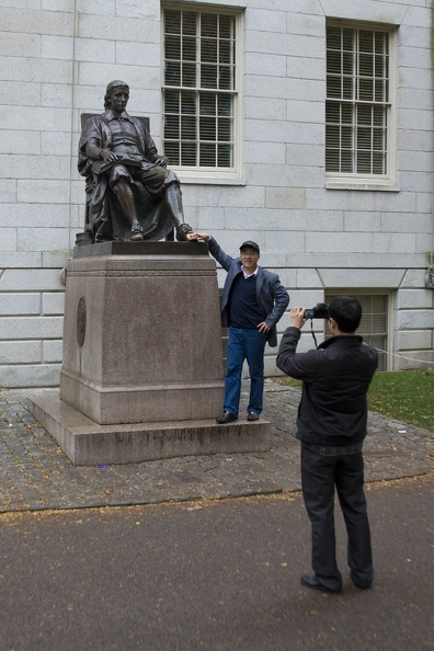 315-0619 Posing with Statue of John Harvard.jpg