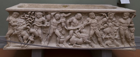 408-3146 IT - Firenze - Uffizi Gallery - (Roman) Sarcophagus with the Labors of Hercules 150-160 AD