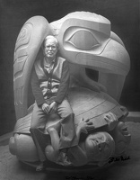 409-3256 BRG Bill Reid and The Raven and the First Men Sculpture, 1980